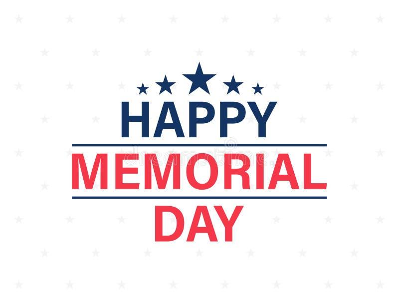 Carta felice di Memorial Day Festa americana nazionale Manifesto o insegna festivo con l'iscrizione della mano Illustrazione di v illustrazione di stock