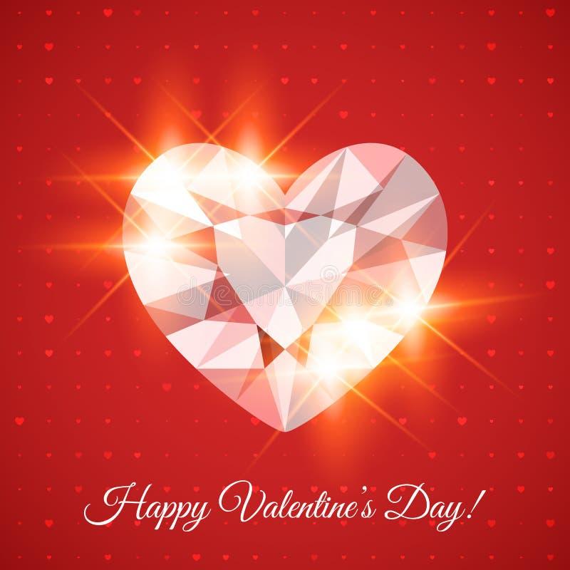 Carta felice di San Valentino con il diamante royalty illustrazione gratis