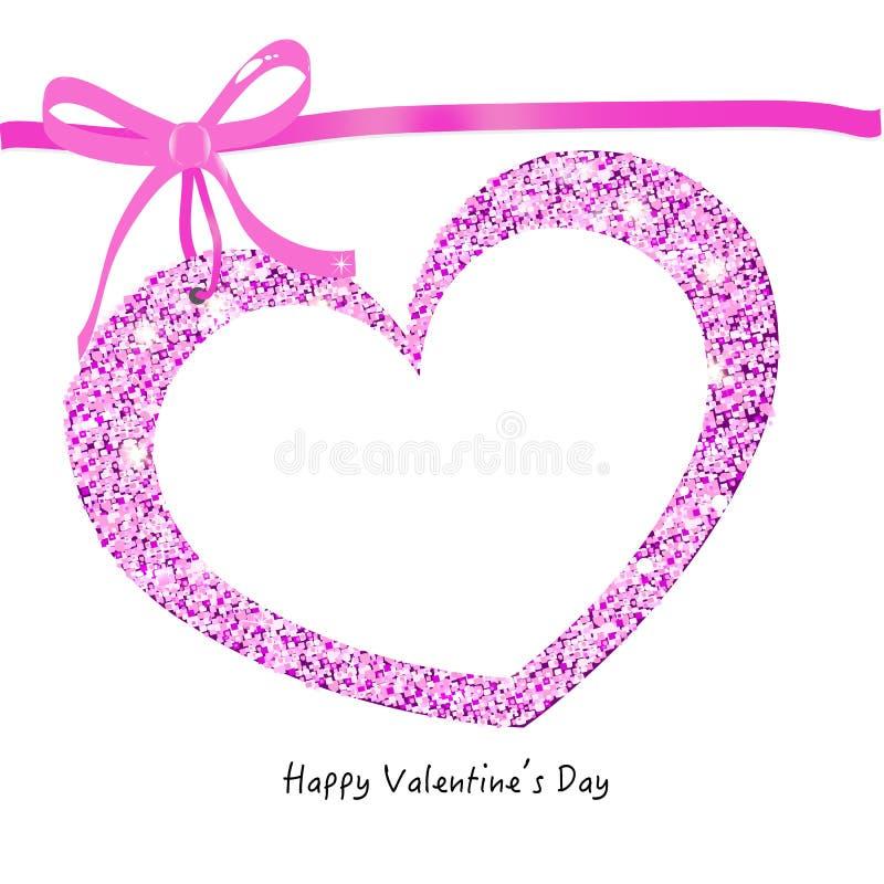 Carta felice di Valentine Day con il fondo scintillante di vettore del cuore illustrazione di stock