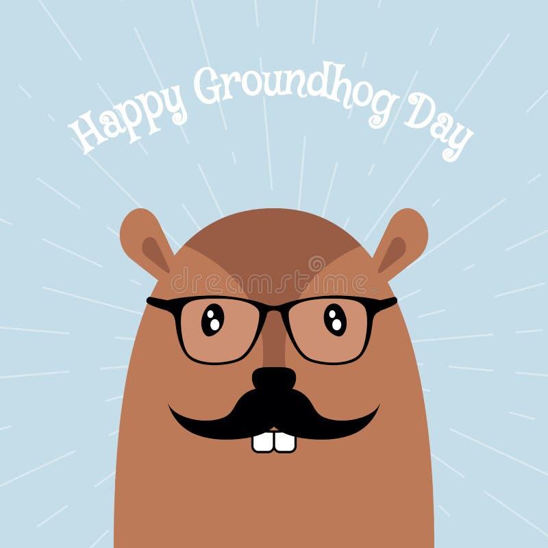 Carta felice di vettore di giorno della marmotta illustrazione vettoriale