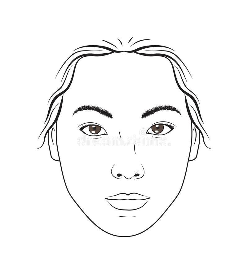 Carta femenina asiática del maquillaje de la cara para el maquillaje, la belleza y el entrenamiento de las lecciones de los cosmé ilustración del vector