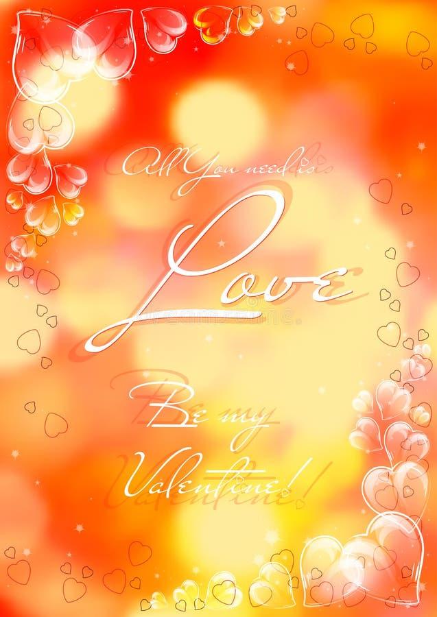 Carta festiva con i cuori vetrosi il giorno dei biglietti di S. Valentino 14 febbraio illustrazione vettoriale