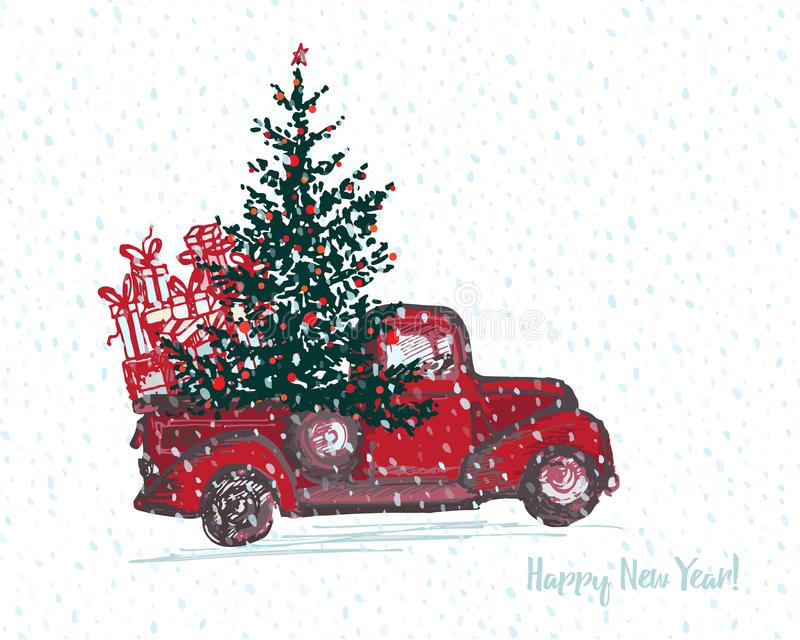 Carta festiva del nuovo anno 2018 Il camion rosso con l'albero di abete ha decorato le palle rosse illustrazione vettoriale