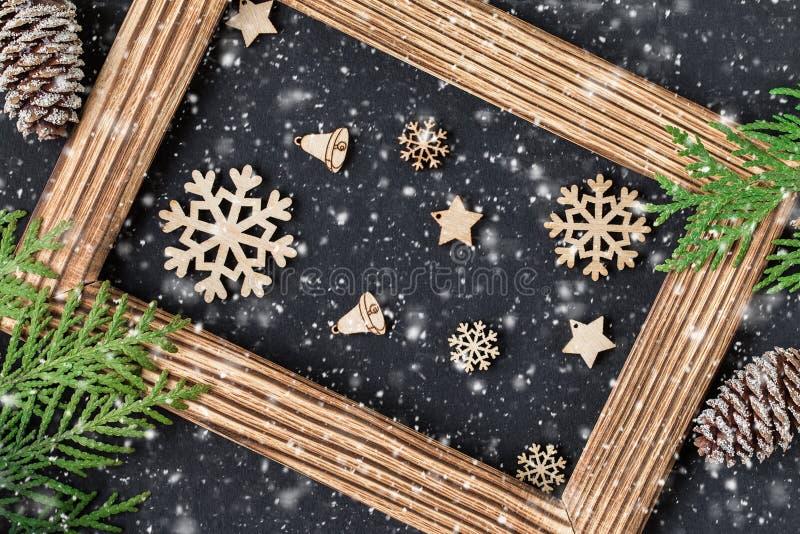Carta festiva del nuovo anno o di Natale Composizione in festa fotografia stock libera da diritti