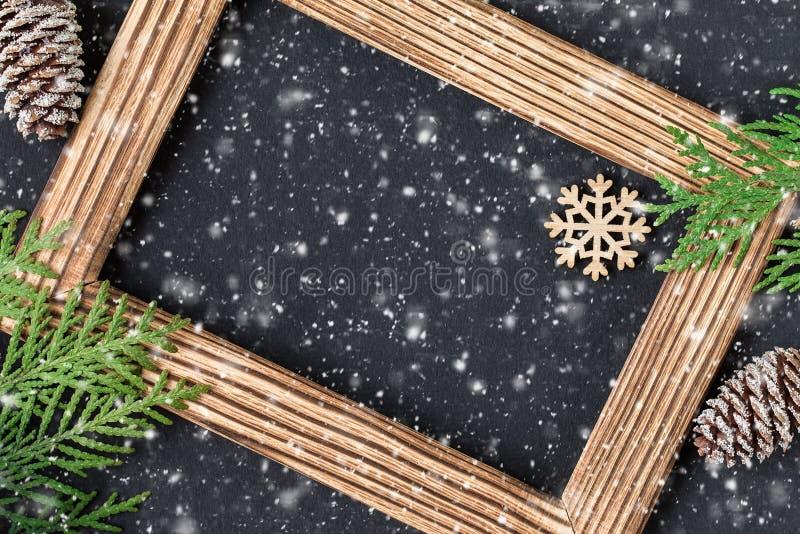 Carta festiva del nuovo anno o di Natale Composizione in festa fotografia stock
