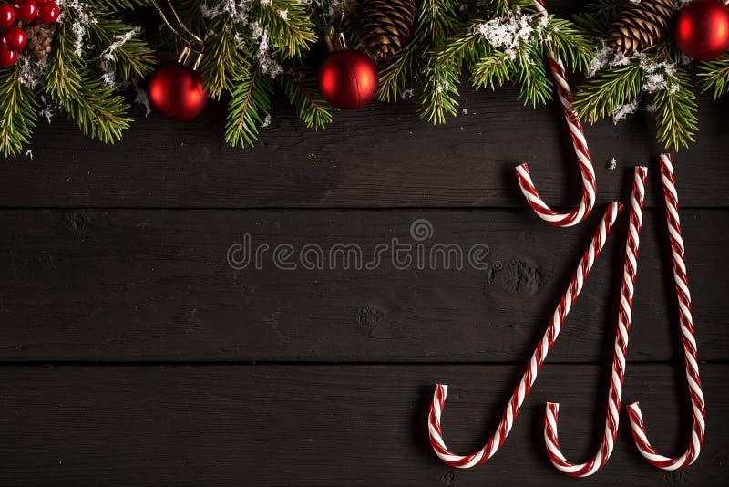 Carta festiva del nuovo anno o di Natale Disposizione piana immagini stock