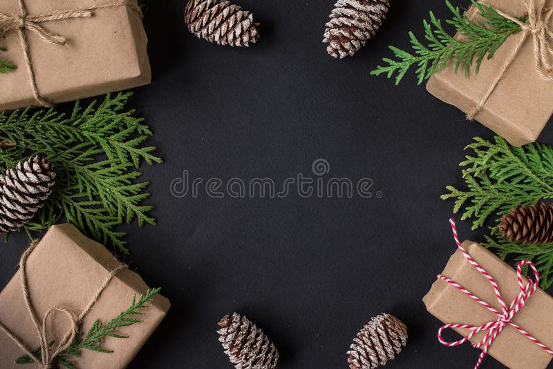 Carta festiva del nuovo anno o di Natale Vista superiore fotografia stock libera da diritti