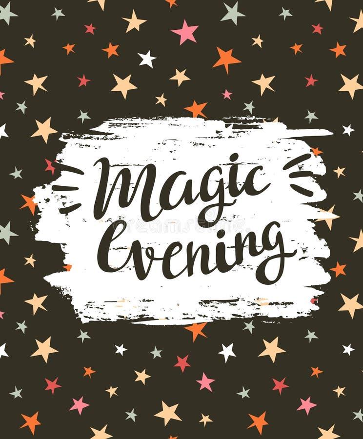 Carta festiva di vettore del fondo con la sera magica dell'iscrizione alla moda royalty illustrazione gratis