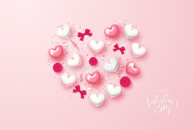 Carta festiva felice di giorno di biglietti di S. Valentino Bello fondo con i cuori, gli archi, le rose e la serpentina Illustraz illustrazione vettoriale