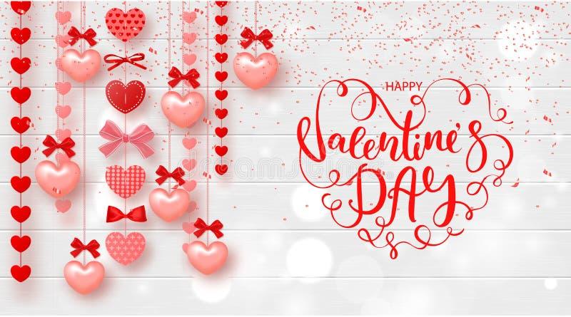 Carta festiva per il giorno di biglietti di S. Valentino felice Fondo con i cuori e bella iscrizione sulla struttura di legno Ill illustrazione vettoriale
