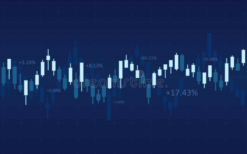 Carta financeira abstrata com castiçal e números no mercado de valores de ação no fundo azul da cor ilustração stock