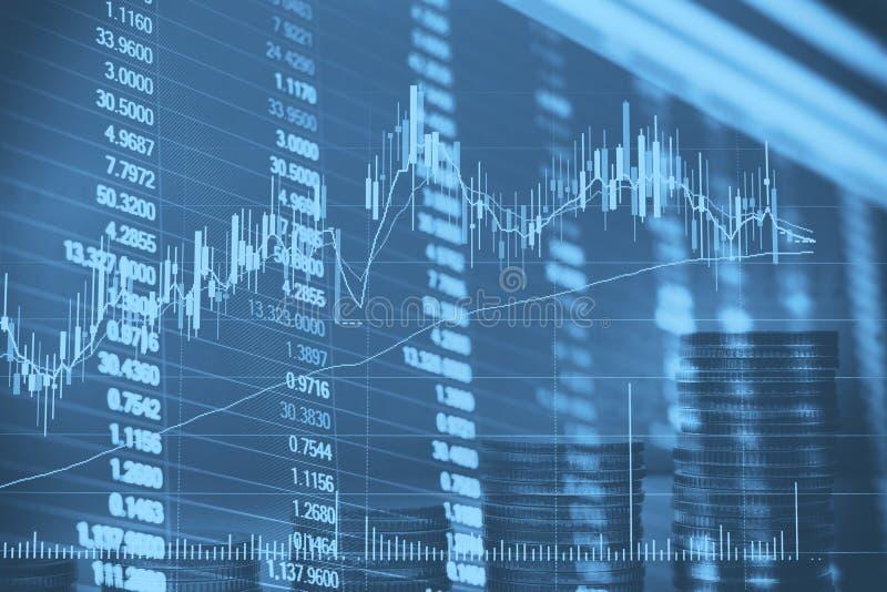 A carta financeira abstrata do castiçal com gráfico linear e números de existência na exposição dobro denomina o fundo foto de stock