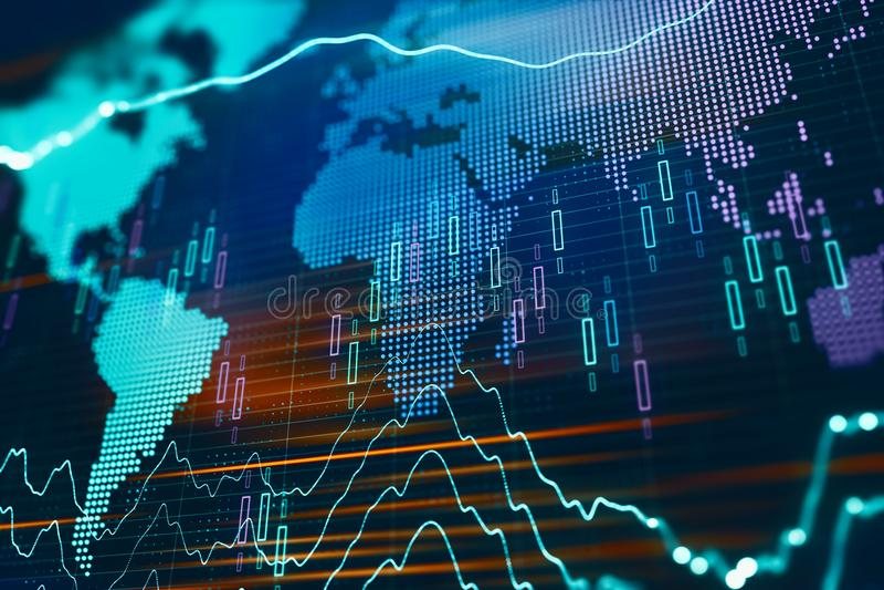 Carta financeira global foto de stock