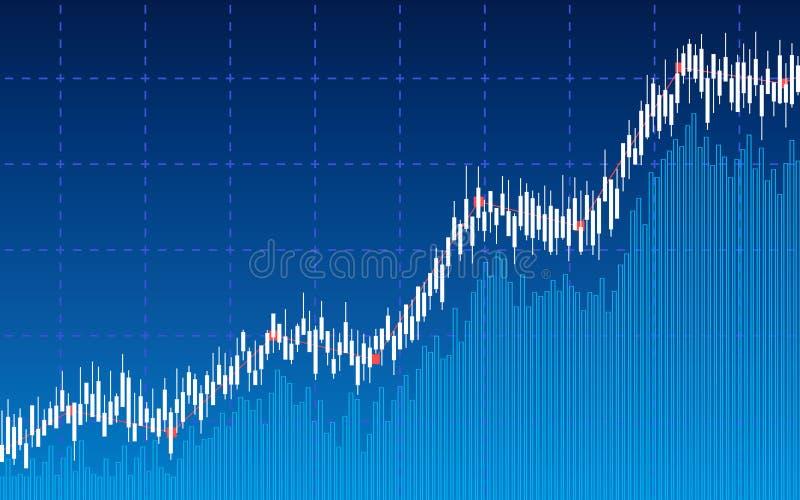 Carta financiera abstracta con la línea gráfico, carta de barra de la tendencia al alza en mercado de acción en fondo azul del co ilustración del vector
