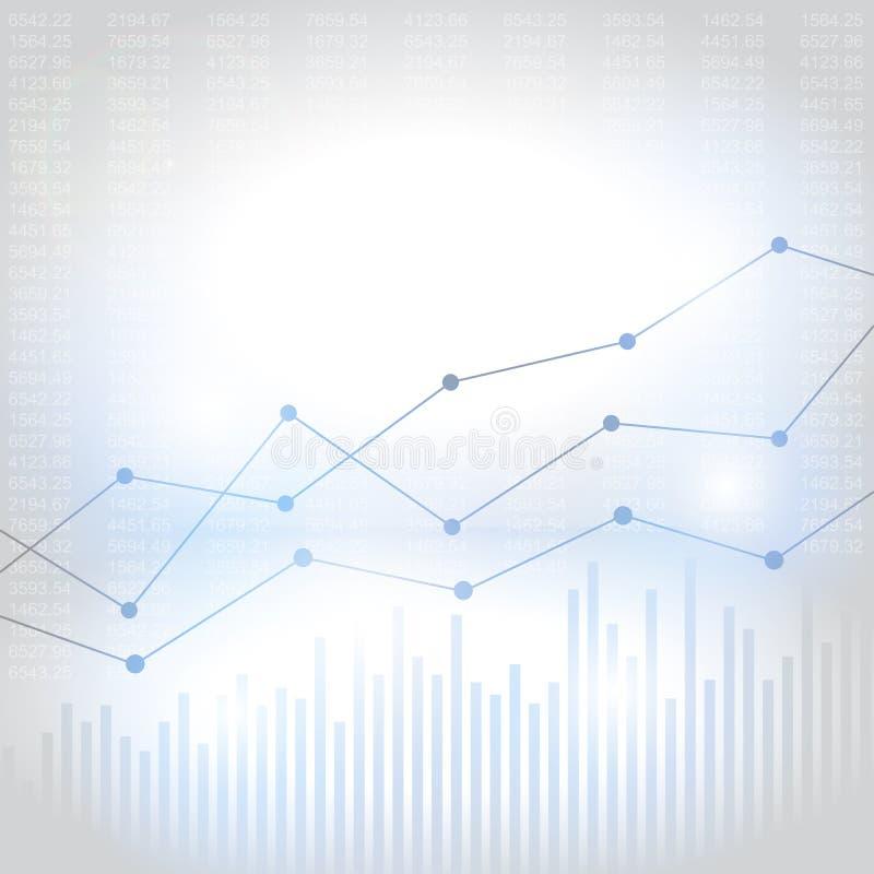 Carta financiera abstracta con la línea gráfico de la tendencia al alza stock de ilustración
