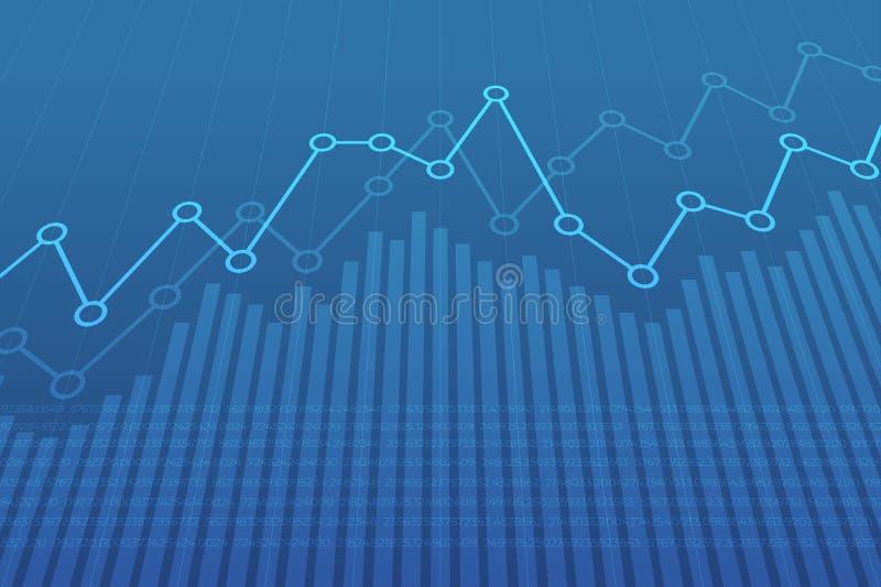 Carta financiera abstracta con la línea gráfico de la tendencia al alza en fondo azul stock de ilustración