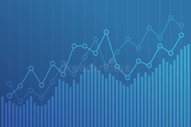 Carta financiera abstracta con la línea gráfico de la tendencia al alza en fondo azul ilustración del vector