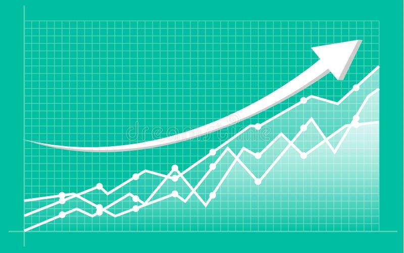 Carta financiera abstracta con la línea gráfico de la tendencia al alza y el mercado de los números en existencia stock de ilustración