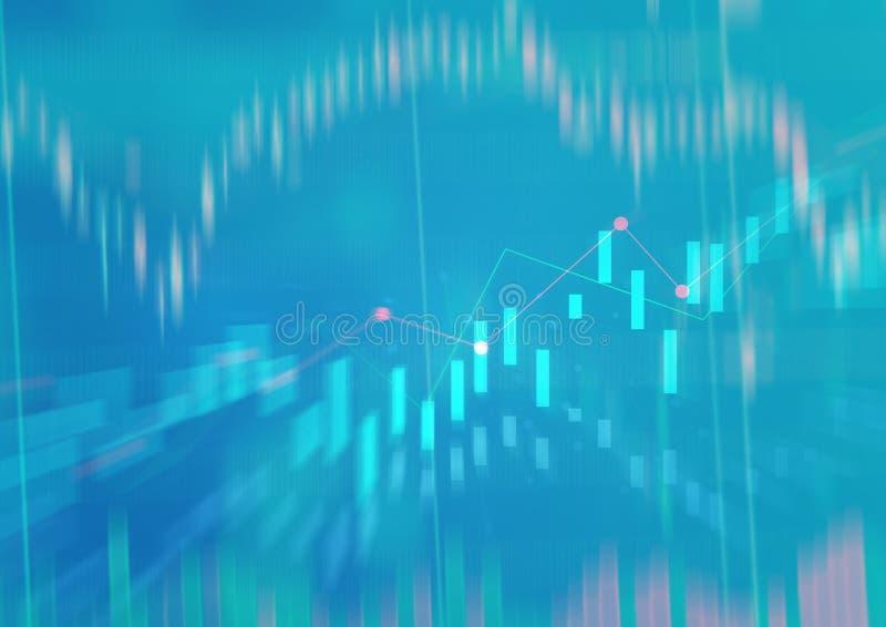 Carta financiera con la línea ascendente gráfico de tendencia fotografía de archivo