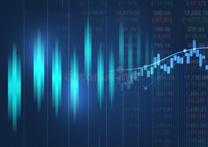 Carta financiera con la línea ascendente gráfico de tendencia stock de ilustración
