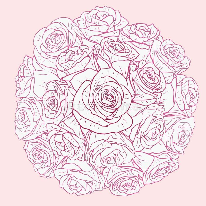 Carta floreale con le rose illustrazione di stock