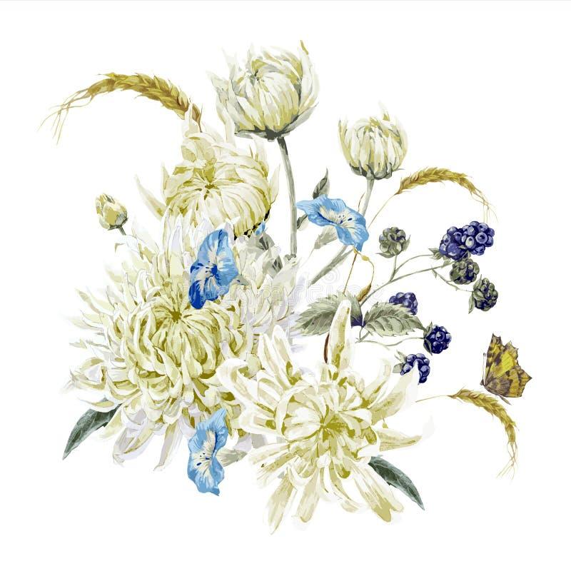 Carta floreale d'annata con i crisantemi illustrazione di stock