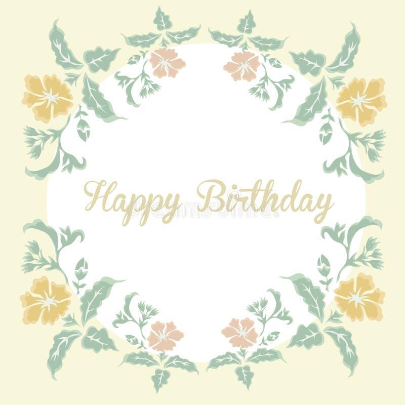 Carta floreale d'annata con il buon compleanno dell'iscrizione illustrazione di stock