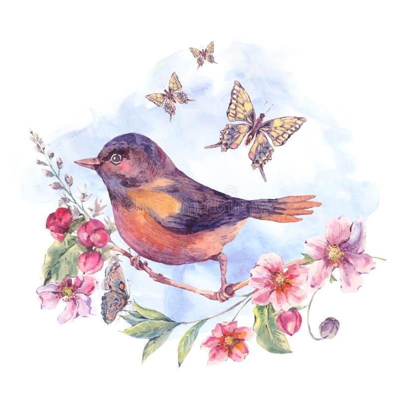 Carta floreale dell'acquerello, uccello su un ramo di fioritura royalty illustrazione gratis
