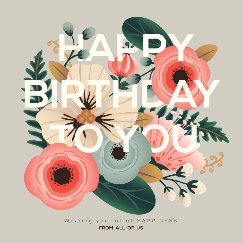 Carta floreale di compleanno moderno royalty illustrazione gratis
