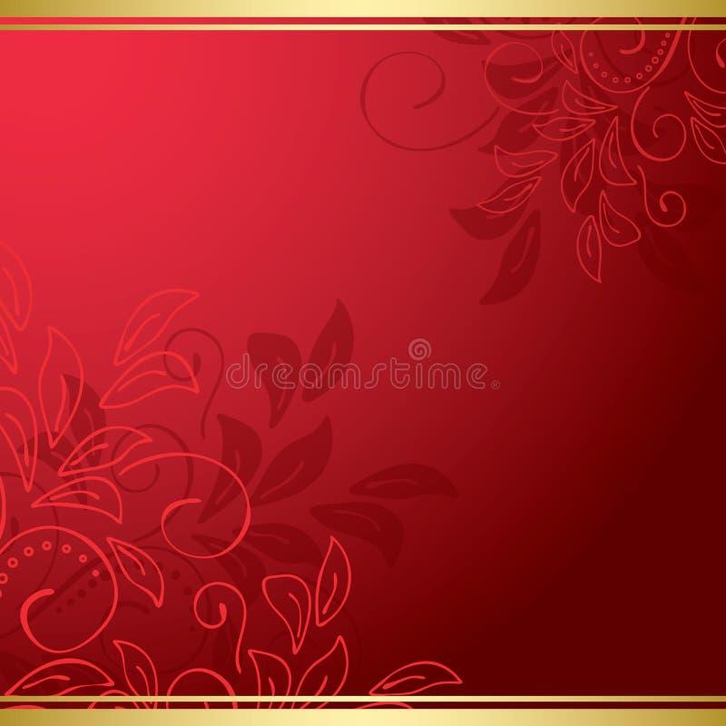 Carta floreale rosso scuro con i nastri dell'oro illustrazione vettoriale