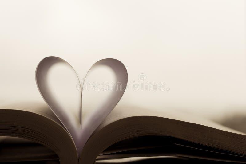 Carta in forma di cuore dentro un libro immagini stock libere da diritti