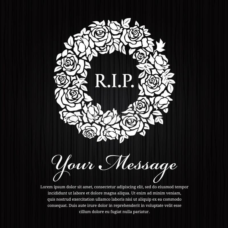 Carta funerea - R I P il testo in corona bianca del cerchio è aumentato su progettazione di legno nera di vettore del fondo illustrazione di stock