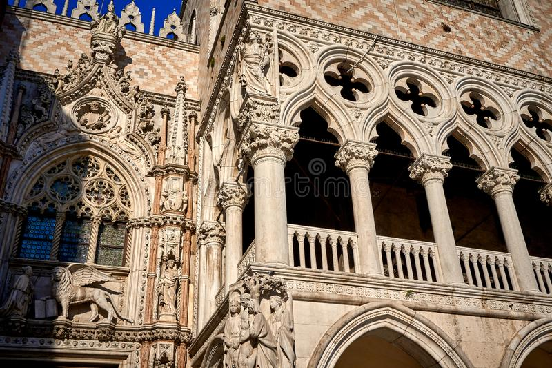 Carta Gate Porta della Carta Piazza San Marco Venice Italy. Carta Gate Porta, della CartaPiazza San Marco,Venice, building,Doge`s Palace,venetian,historic stock photo