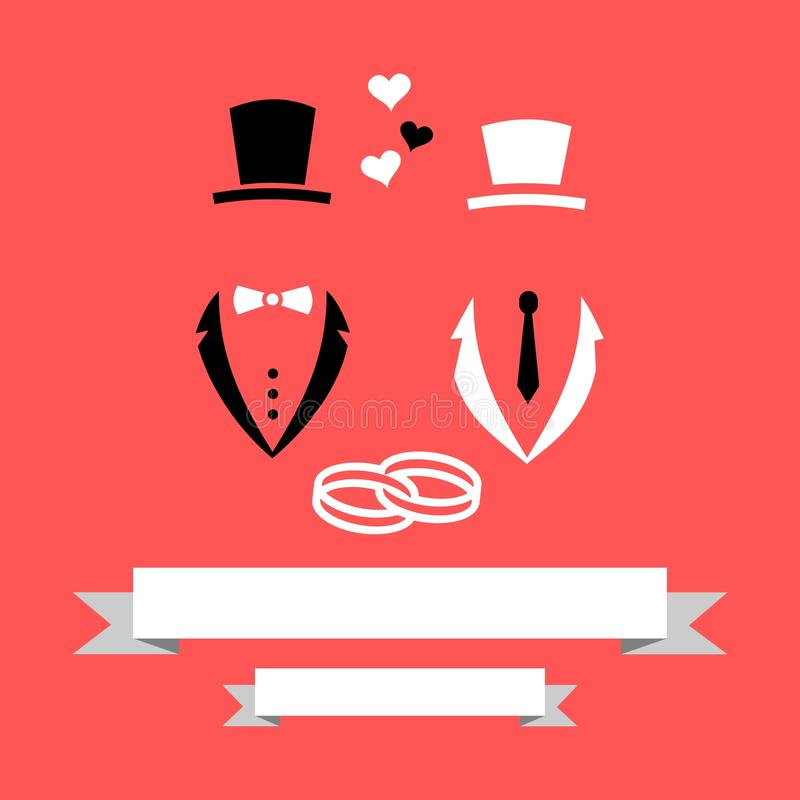 Carta gay omosessuale dell'invito di And Groom Marriage dello sposo di nozze con il vettore moderno piano degli anelli & dell'ins illustrazione di stock