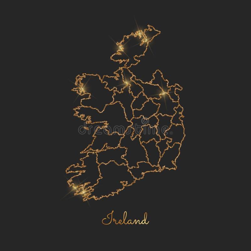 Cartina Geografica Dell Irlanda.Carta Geografica Dell Irlanda Contorno Glitter Dorato Con Illustrazione Vettoriale Illustrazione Di Dublino Geografia 156217153