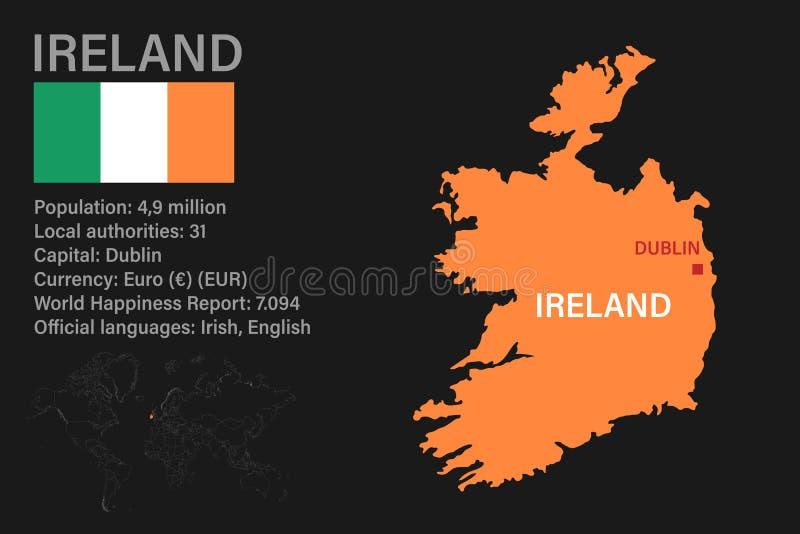 Cartina Geografica Dell Irlanda.La Mappa Dettagliata Dell Irlanda Con La Bandiera Nazionale Illustrazione Vettoriale Illustrazione Di Contorno Capitale 127252921