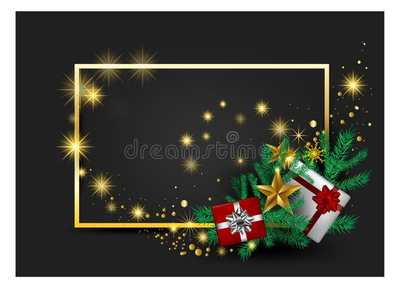 Carta grigia, accogliere cardsred ed ornamenti del fondo di Natale nei nastri rossi dell'oro con il vettore dorato dei contenitor royalty illustrazione gratis