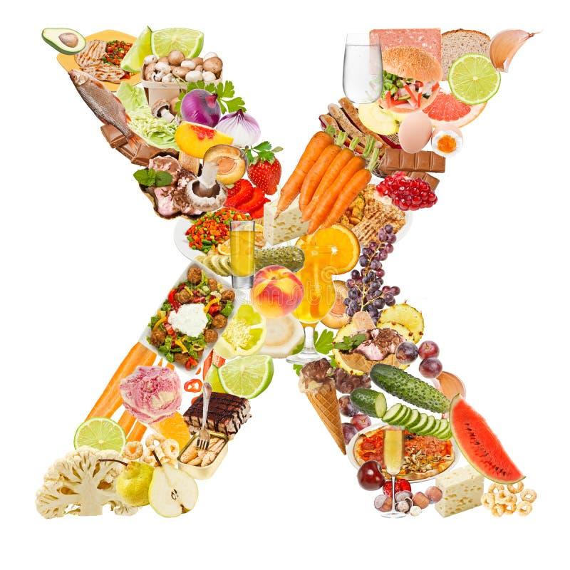 Carta X hecho del alimento fotos de archivo