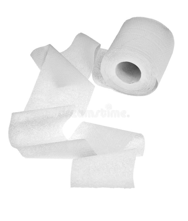 Carta igienica chiara isolata su bianco fotografia stock libera da diritti