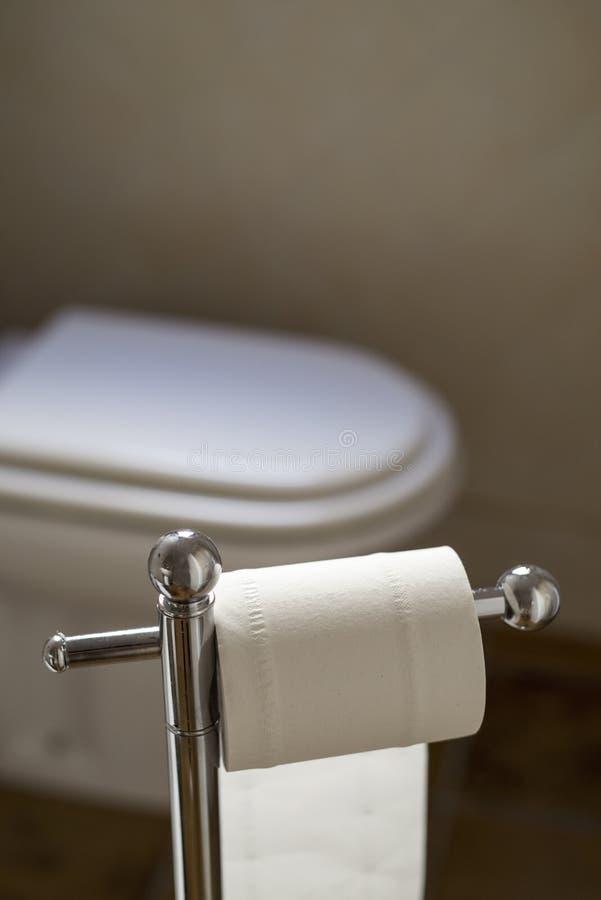 Carta igienica e toilette in una toilette fotografia stock libera da diritti
