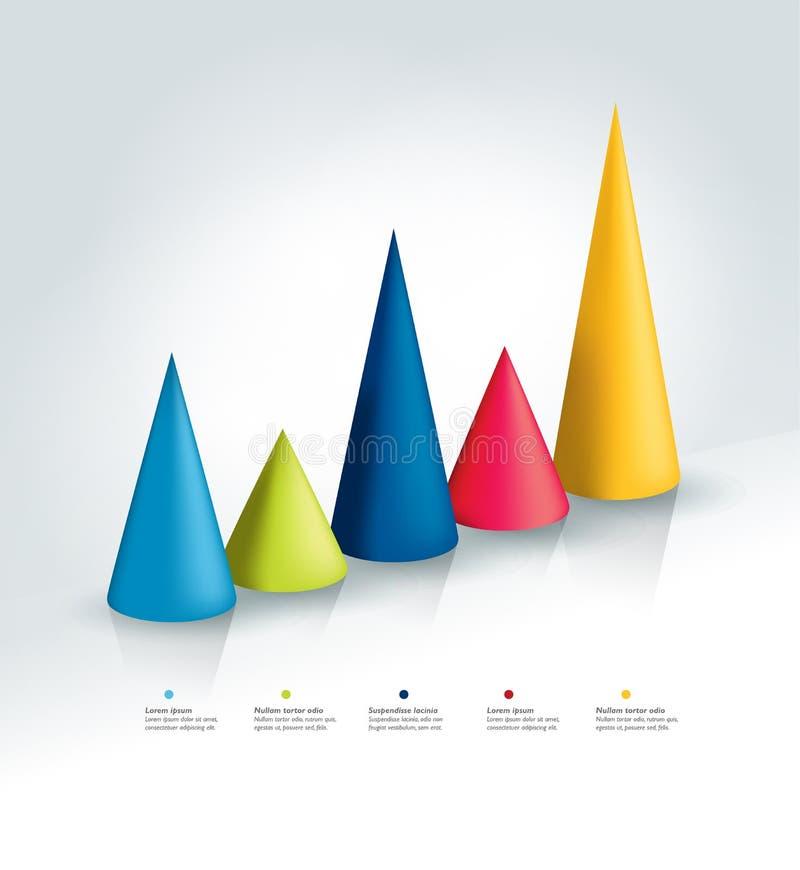 carta infographic do cone 3D, gráfico ilustração royalty free