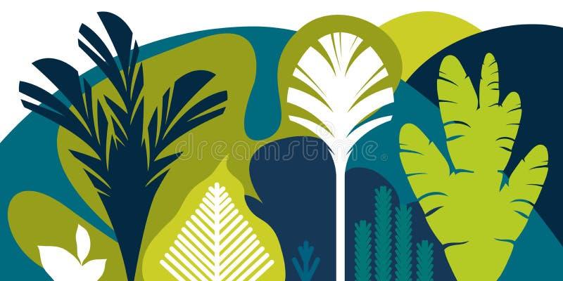 Carta, insegna, invito con l'abbellimento tropicale, piante, alberi, colline e montagne Conservazione dell'ambiente, ecologia royalty illustrazione gratis