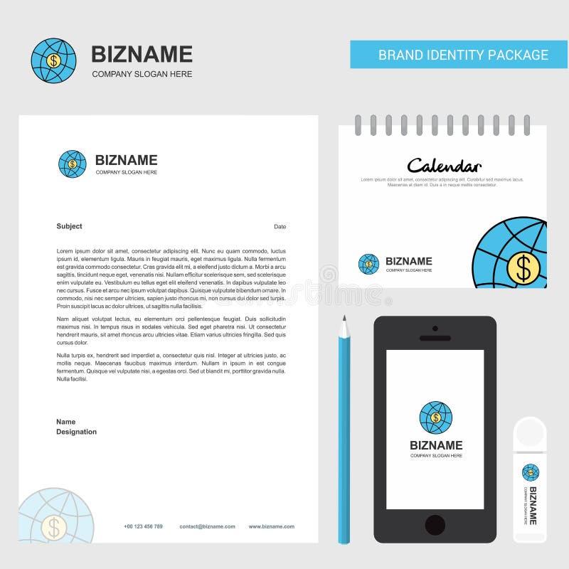 Carta intestata di affari del globo, calendario 2019 e modello mobile di vettore di progettazione del app royalty illustrazione gratis