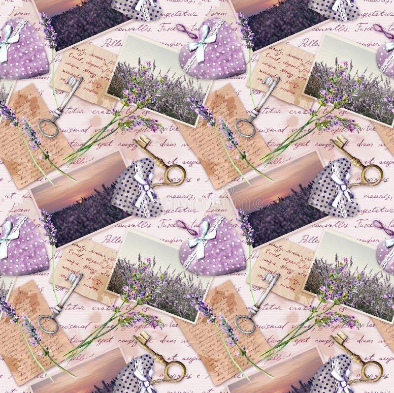 Carta invecchiata d'annata con i fiori della lavanda, lettere scritte mano, vecchie chiavi, cuori del tessuto Ripetizione della p fotografia stock