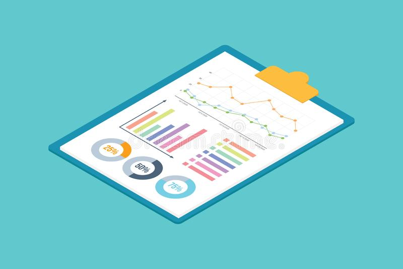 Carta isométrica do gráfico na prancheta com 3d estilo no papel de negócio - vetor ilustração do vetor