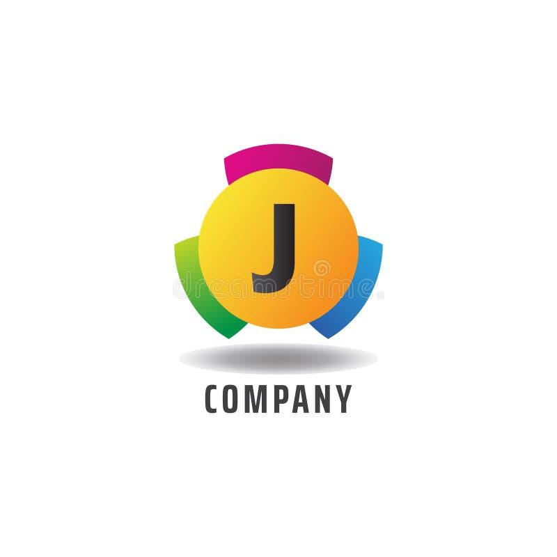Carta J Conceito de Logotipo Cheerful, Modelo de Design de Logotipo Alfabético Colorido ilustração royalty free