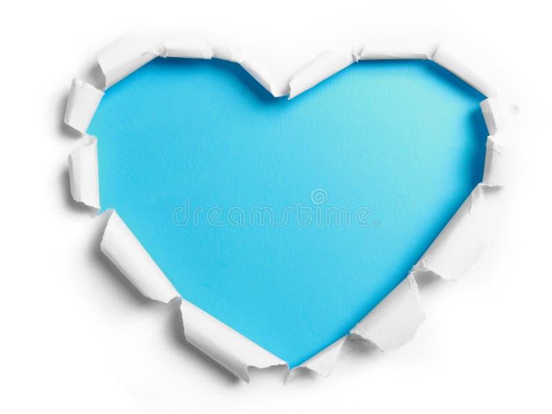 Carta lacerata bianca con forma del cuore fotografia stock
