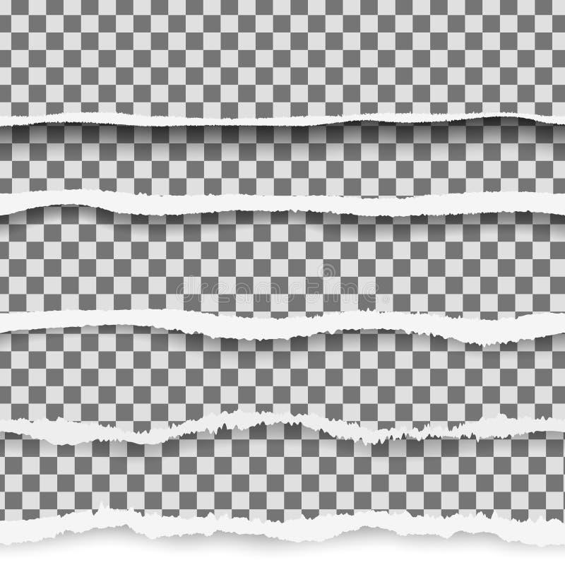 Carta lacerata di vettore realistico con i bordi strappati con spazio per testo Insegna lacerata della pagina per il web e la sta illustrazione di stock