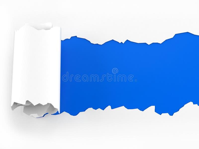 Carta lacerata su fondo blu illustrazione di stock