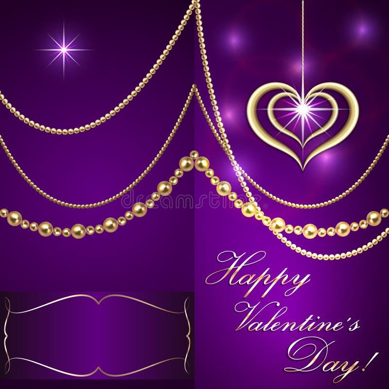 Carta lilla dell'invito del biglietto di S. Valentino del san di vettore con illustrazione di stock